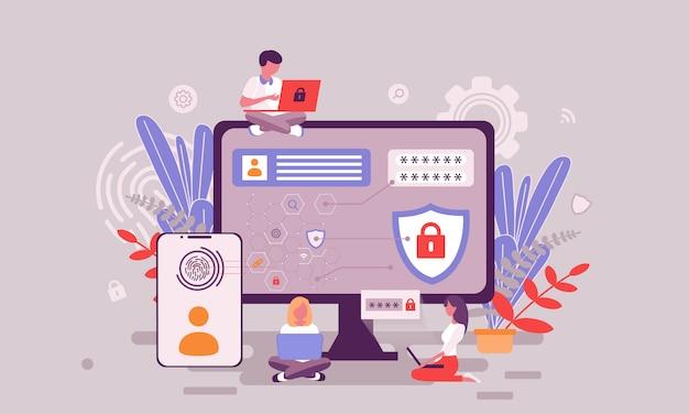 Ilustração de proteção de dados Vetor Premium