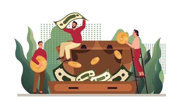 Ilustração de proteção de dinheiro, manutenção de poupança. ideia de economia e riqueza financeira. economia de moeda. moeda de ouro e notas na mala. Vetor Premium