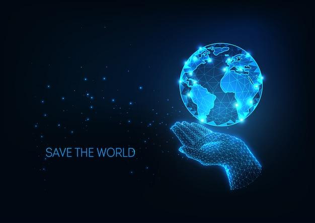 Ilustração de proteção futurista com brilhante mão poligonal segurando o planeta terra Vetor Premium