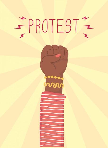 Ilustração de protesto de punho humano afro Vetor Premium