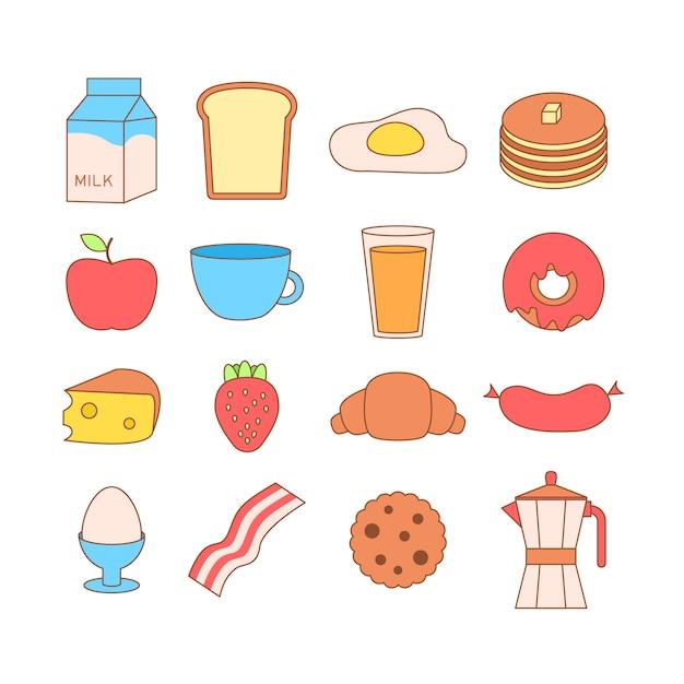 Ilustração de quadro bonito e simples com omelete, azeite, ovos, leite, sal, cebola, cogumelos Vetor grátis
