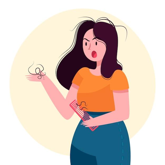 Ilustração de queda de cabelo desenhada à mão plana com mulher zangada Vetor grátis