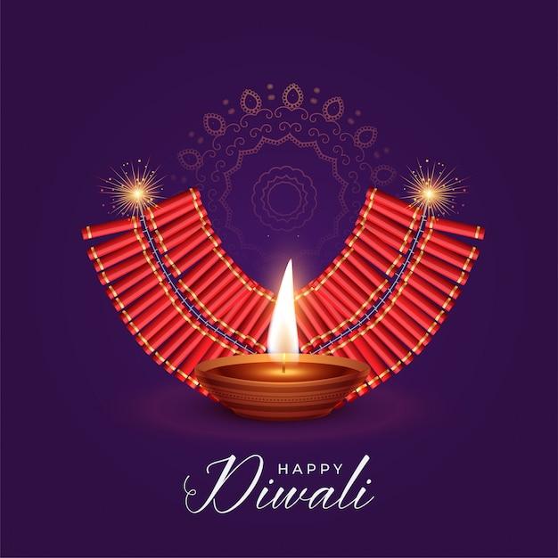 Ilustração, de, queimadura, diya bolacha, para, diwali, festival Vetor grátis