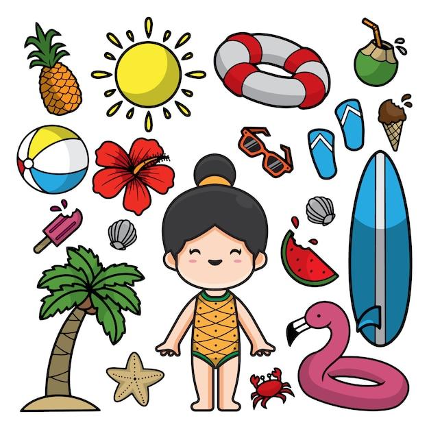 Ilustração de rabiscos de verão Vetor Premium
