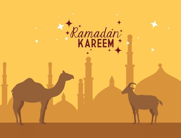 Ilustração de ramadan kareem com camelos Vetor Premium