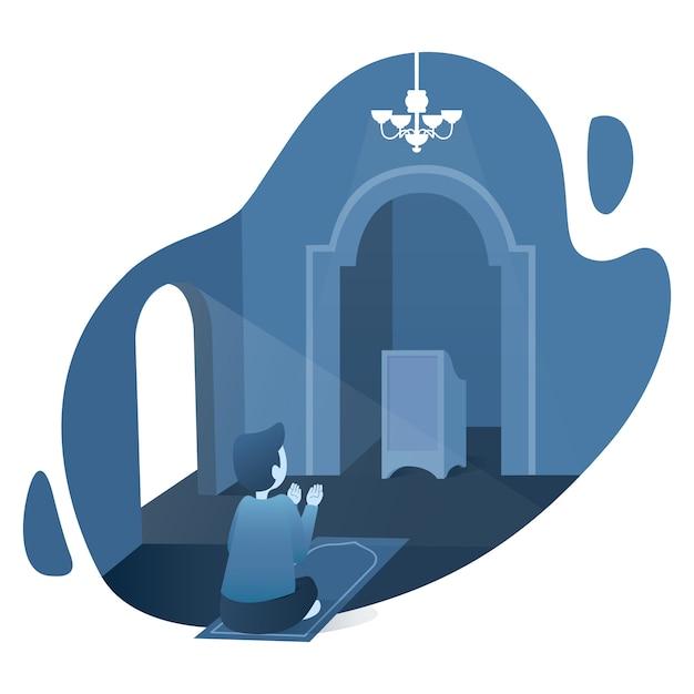Ilustração de ramadan kareem com oração muçulmana Vetor Premium