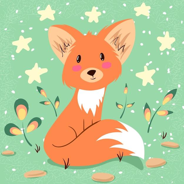 Ilustração de raposa bonitinha. idéia para imprimir t-shirt. Vetor Premium