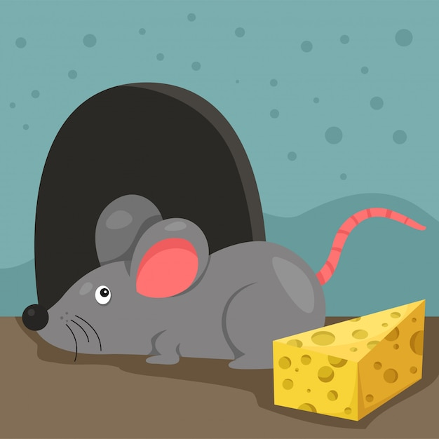 Ilustração de rato e casa Vetor Premium