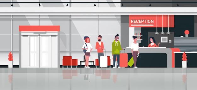 Ilustração de recepção com viajantes Vetor Premium