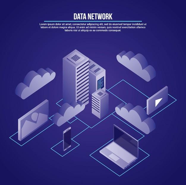 Ilustração de rede de dados Vetor grátis