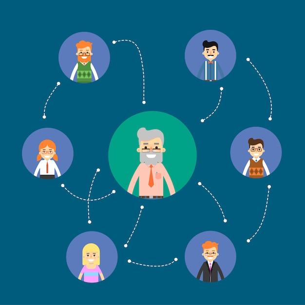 Ilustração de rede e trabalho em equipe social Vetor Premium