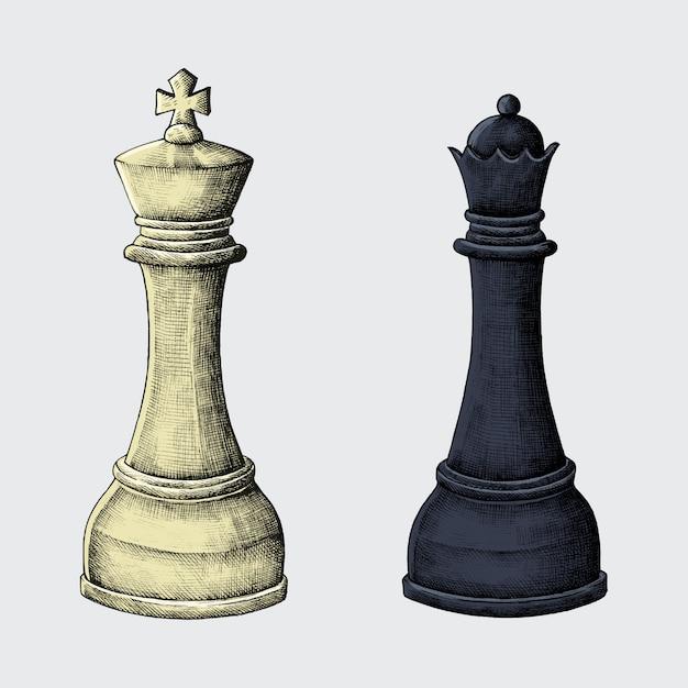 Ilustração de rei e rainha de xadrez desenhados à mão Vetor Premium