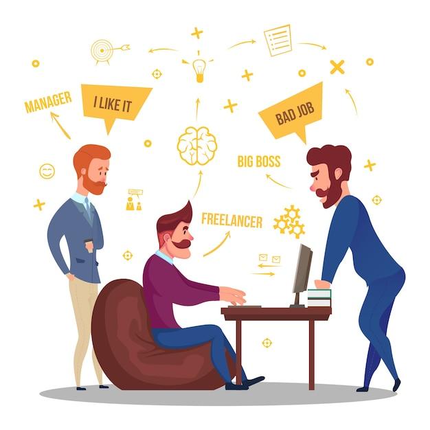 Ilustração de relações comerciais freelance Vetor grátis