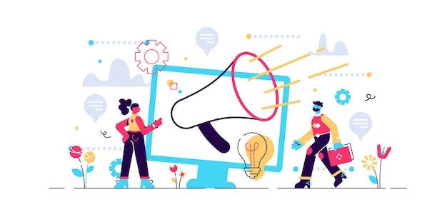 Ilustração de relações públicas e mensagem de anúncio Vetor Premium