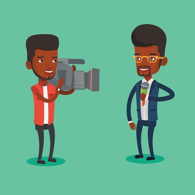 Ilustração de repórter e operador de tv. Vetor Premium
