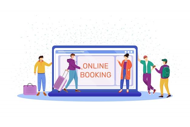Ilustração de reserva on-line. escolhendo hotel na internet. fazendo reserva no site. turistas com malas, malas. preparação para viagem, viagem, personagens de desenhos animados de férias Vetor Premium