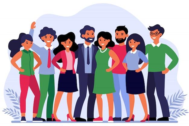 Ilustração de retrato de grupo de funcionários Vetor grátis