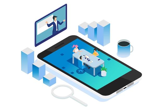 Ilustração de reunião de recrutamento de negócio remoto isométrica moderna Vetor Premium