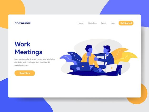 Ilustração de reuniões de trabalho para a página da web Vetor Premium
