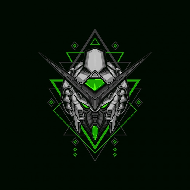 Ilustração de robô guerreiro escuro Vetor Premium