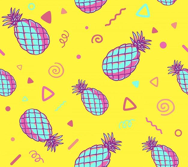 Ilustração de rosa e azul padrão com abacaxis em fundo amarelo. Vetor Premium