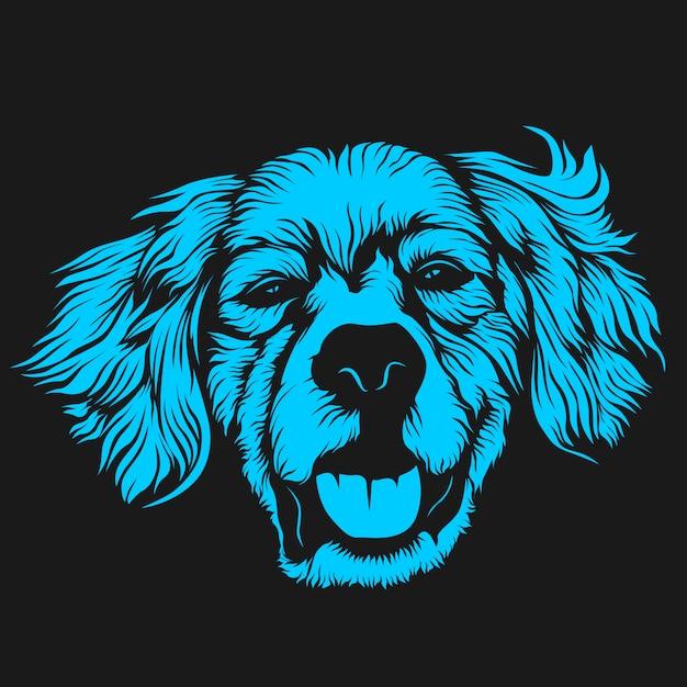 Ilustração de rosto de cachorro peludo Vetor Premium