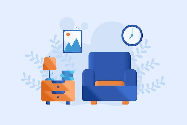 Ilustração de sala de estar Vetor Premium