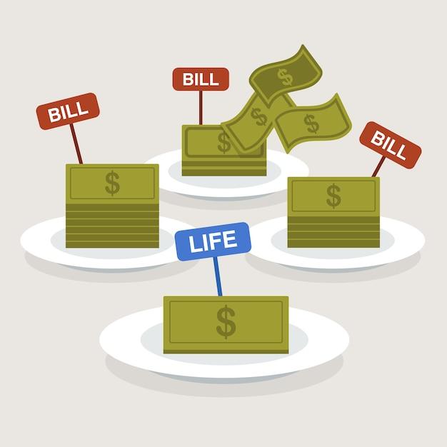 Ilustração de salário e contas. Vetor Premium