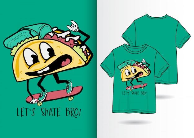 Ilustração de sanduíche bonito mão desenhada com design de camisa de t Vetor Premium