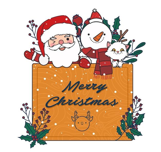 Ilustração de santa, gato e boneco de neve. cartão ou cartão postal do feliz natal. Vetor Premium