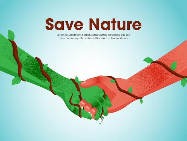 Ilustração de save nature concept Vetor Premium