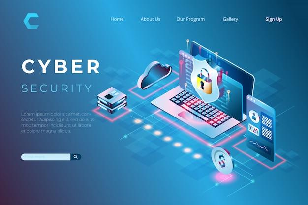 Ilustração de segurança cibernética com um símbolo de escudo, proteção de dados e informações com o conceito de páginas de destino isométricas e cabeçalhos da web Vetor Premium