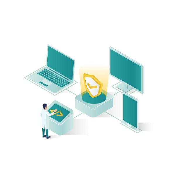 Ilustração de segurança de dados isométrica, segurança de dados de pessoas em design de estilo isométrico Vetor Premium