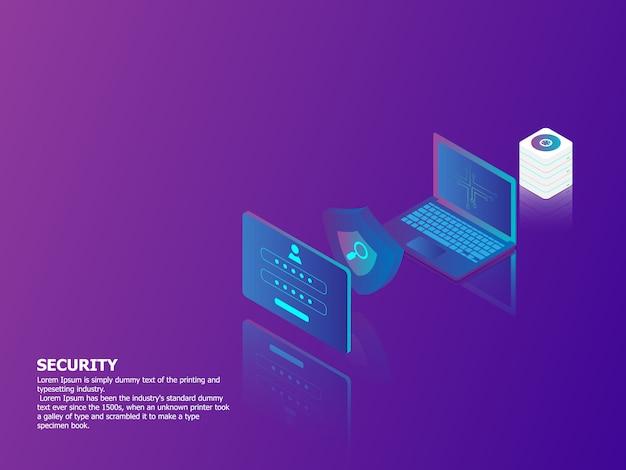 Ilustração, de, segurança rede, conceito, vetorial, fundo isométrico Vetor Premium