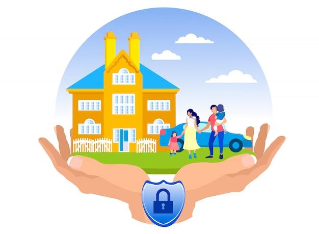 Ilustração de seguro de acidente de propriedade plana. Vetor Premium