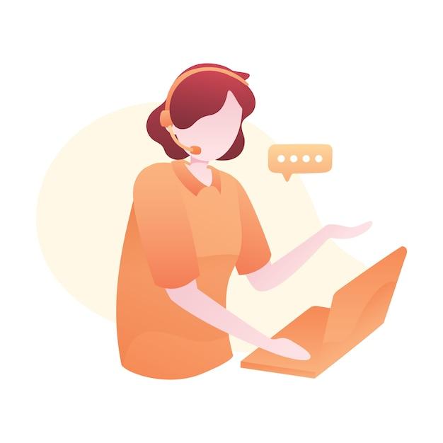 Ilustração de serviço ao cliente com fone de ouvido de desgaste de mulher e conversando com os clientes Vetor Premium