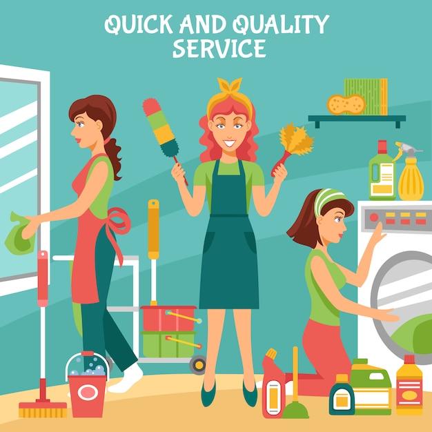 Ilustração de serviço de limpeza Vetor grátis