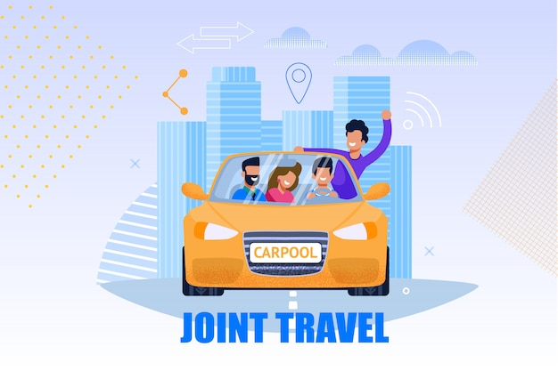 Ilustração de serviço de viagens conjunta. conceito carpool Vetor Premium