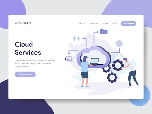 Ilustração de serviços em nuvem para páginas da web Vetor Premium