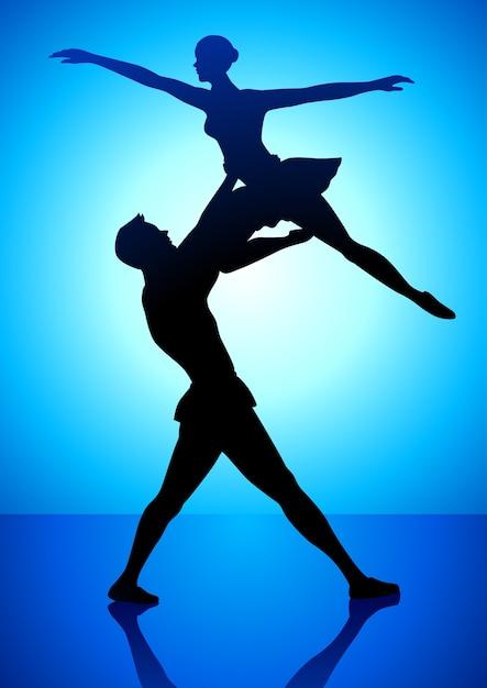 Ilustração de silhueta de um casal dançando balé Vetor Premium