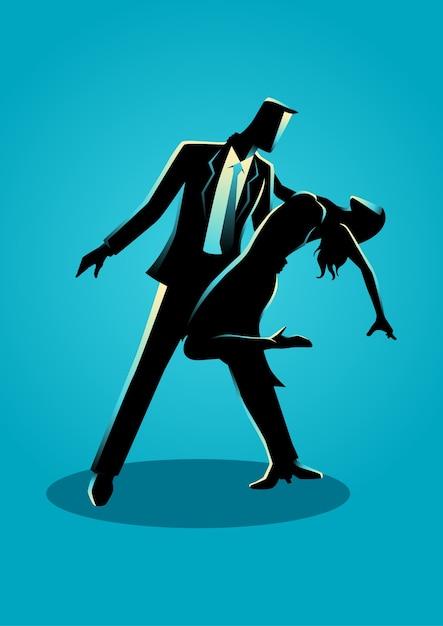 Ilustração de silhueta de um casal dançando Vetor Premium