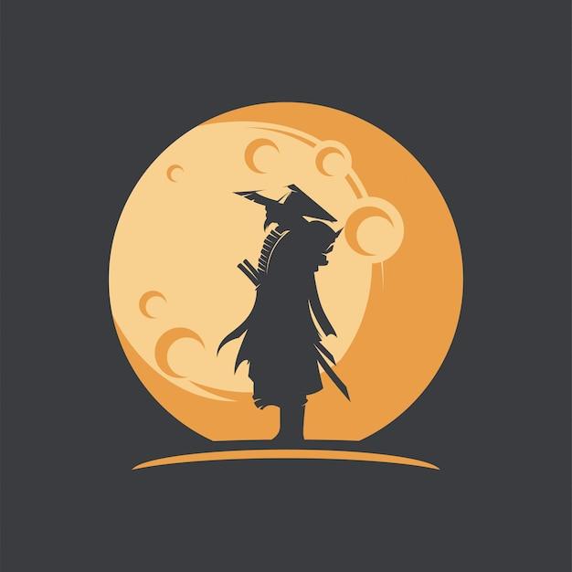 Ilustração de silhueta incrível samurai com lua Vetor Premium