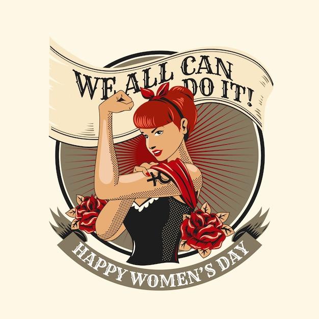 Ilustração de símbolo feminista de mulheres Vetor Premium