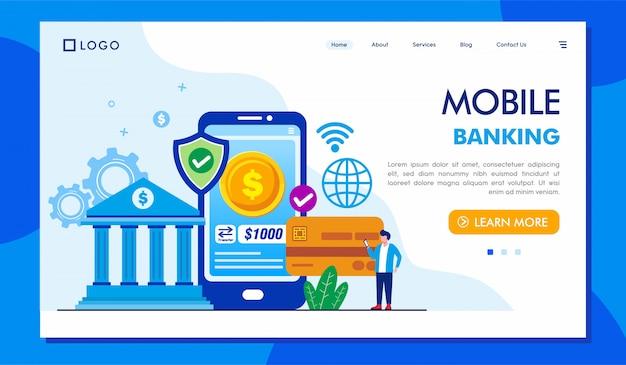 Ilustração de site de página de destino de banco móvel Vetor Premium