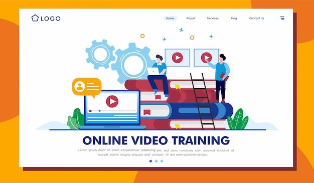 Ilustração de site de página de destino de treinamento de vídeo on-line Vetor Premium