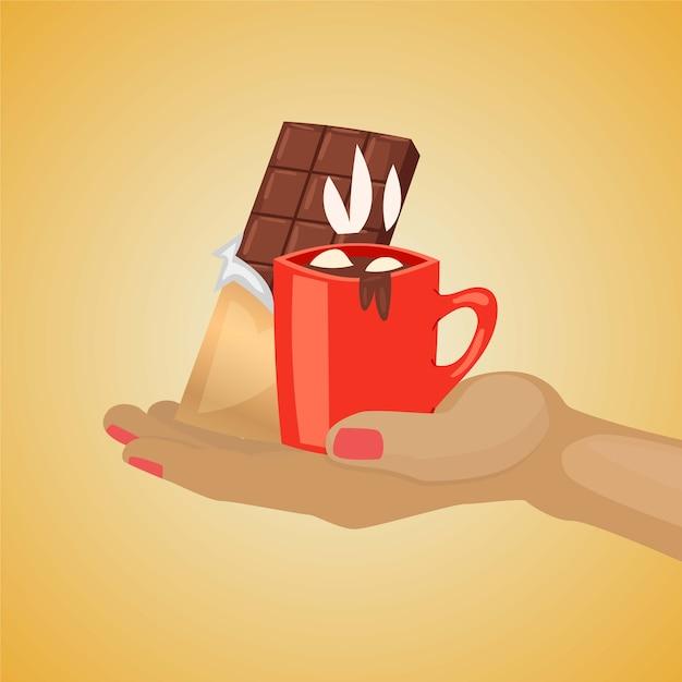 Ilustração de sobremesa de chocolate. mão humana segurando uma caneca com saboroso e delicioso aroma quente de chocolate e marshmallow, barra de chocolate preto, lanche doce tradicional para o fundo de inverno Vetor Premium