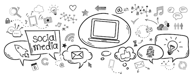 Ilustração, de, social, mídia, conceito Vetor grátis
