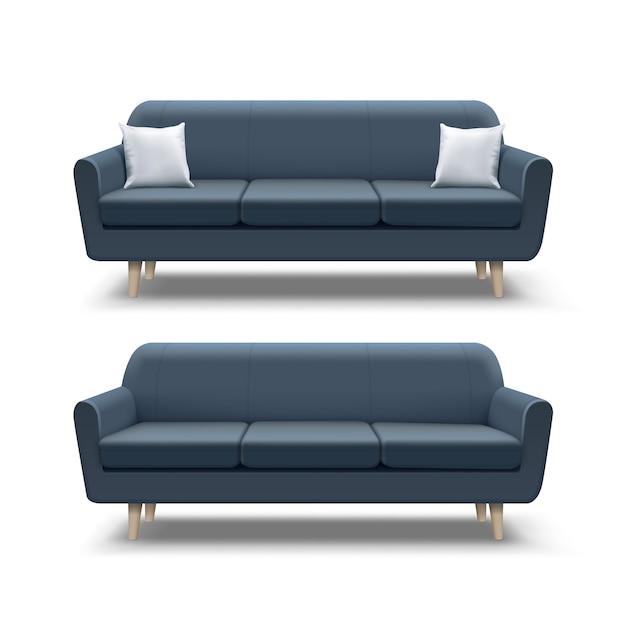 Ilustração de sofá azul marinho vazio e almofadas quadradas em fundo branco Vetor Premium