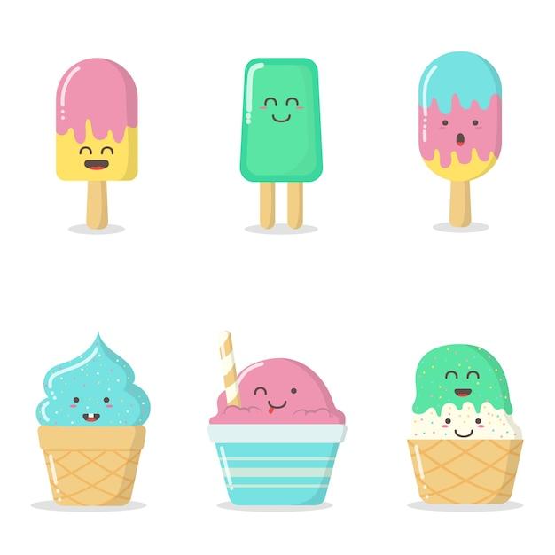 Ilustração de sorvete bonito Vetor Premium