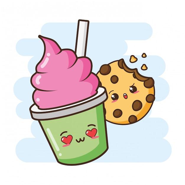 Ilustração de sorvete e biscoito fofo kawaii fast-food Vetor grátis